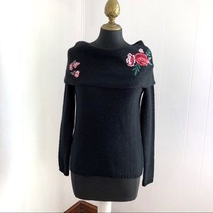 Cloud Chaser Black Cowl Neck Sweater Flower Detail
